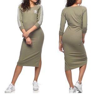 Adidas Green 3 Stripes Midi Dress